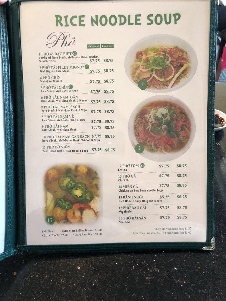Menu Pho 45 Vietnamese Restaurant